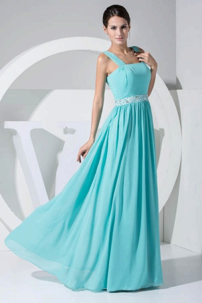 Latest Straps Chiffon A-line Bridesmaid Dress_7