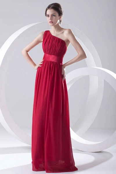 Excellent One Shoulder Chiffon A-line Bridesmaid Dress_2