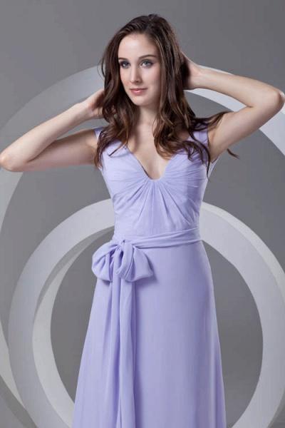 LERUC | A Type V-neck Long Sleeveless Chiffon Lilac Purple Bridesmaid Dress with Belt_5
