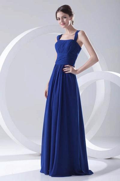 LEIGHTON | A Type A Collar Long SleevelessChiffon Royal Blue Bridesmaid Dress with Small folds_3