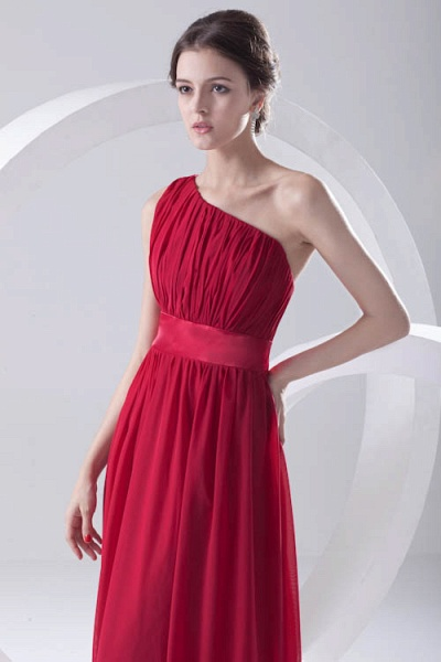 Excellent One Shoulder Chiffon A-line Bridesmaid Dress_9