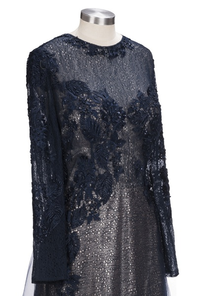 ODETTE | A-line Long Sleeves Floor Length Appliqued Tulle Prom Dresses_6