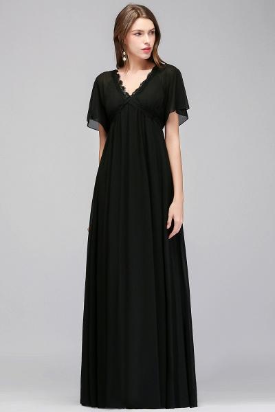 MAGDA | A-line V-neck Short Sleeves Long Black Chiffon Bridesmaid Dresses_4
