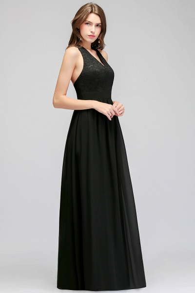 MAGGIE | A-line V-neck Floor Length Sleeveless Lace Top Black Bridesmaid Dresses_4