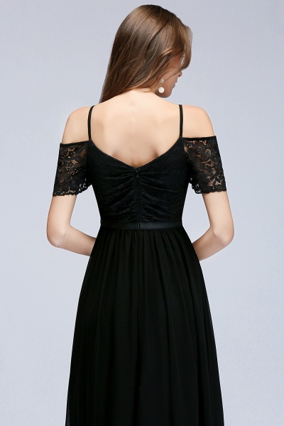A-line Chiffon Lace V-Neck Off-the-shoulder Sleeveless Floor-Length Bridesmaid Dresses_5