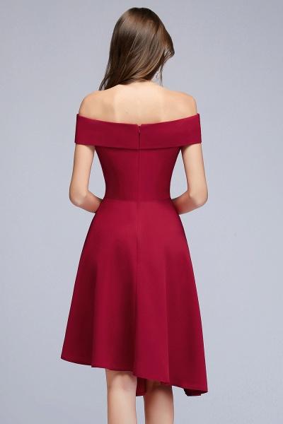 MALLORY   A-line Asymmetrical Short Off-the-shoulder Burgundy Prom Dresses_5
