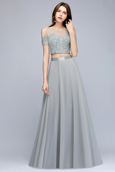 Two-piece Appliqued Chiffon A-line Evening Dresses_5
