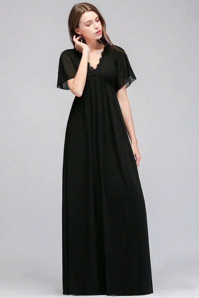 MAGDA | A-line V-neck Short Sleeves Long Black Chiffon Bridesmaid Dresses_8