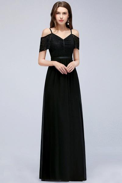 A-line Chiffon Lace V-Neck Off-the-shoulder Sleeveless Floor-Length Bridesmaid Dresses_1