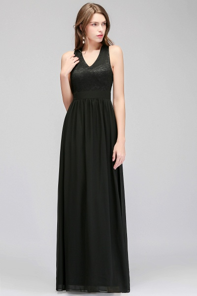 MAGGIE | A-line V-neck Floor Length Sleeveless Lace Top Black Bridesmaid Dresses_1