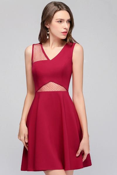 A-line Sleeveless Short V-neck Tulle Neckline Homecoming Dresses_8