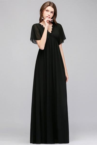 MAGDA | A-line V-neck Short Sleeves Long Black Chiffon Bridesmaid Dresses_5