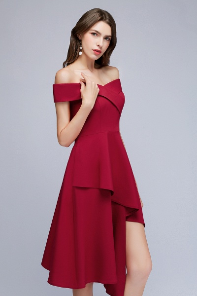 MALLORY   A-line Asymmetrical Short Off-the-shoulder Burgundy Prom Dresses_7
