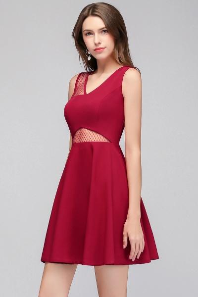 A-line Sleeveless Short V-neck Tulle Neckline Homecoming Dresses_9