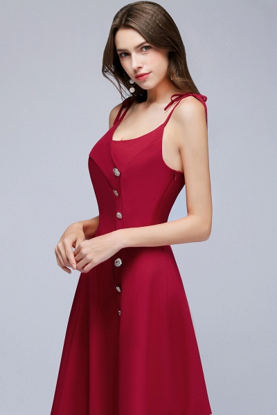 MALVINA | A-line Short V-neck Spaghetti Burgundy Homecoming Dresses with Buttons_7
