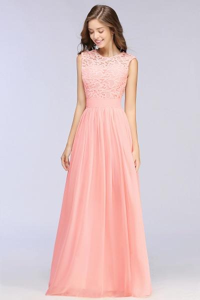 Sheath Crew Sleeveless Floor-length Lace Top Chiffon Bridesmaid Dresses_9