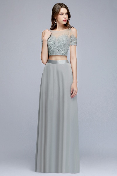 Two-piece Appliqued Chiffon A-line Evening Dresses_7
