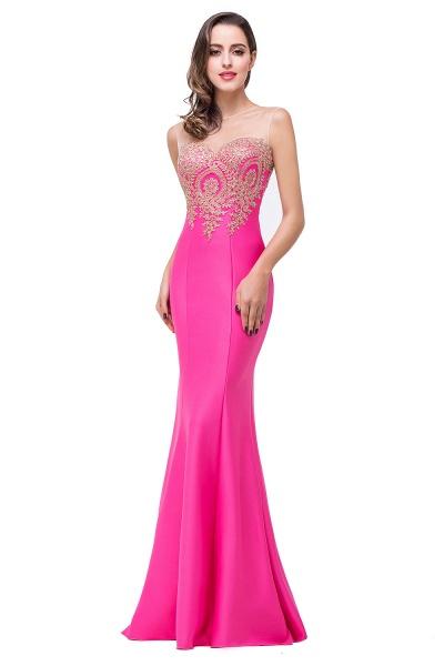 Mermaid Floor-Length Sheer Prom Dresses with Rhinestone Appliques_5