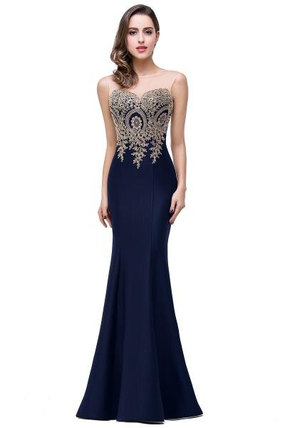 INGRID   Mermaid Crew Illusion Plus size Long Sleeveless Burgundy Formal Dresses with Appliques_8