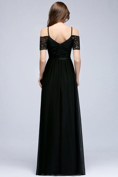 A-line Chiffon Lace V-Neck Off-the-shoulder Sleeveless Floor-Length Bridesmaid Dresses_2