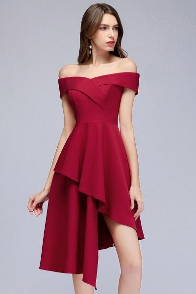 MALLORY   A-line Asymmetrical Short Off-the-shoulder Burgundy Prom Dresses_10