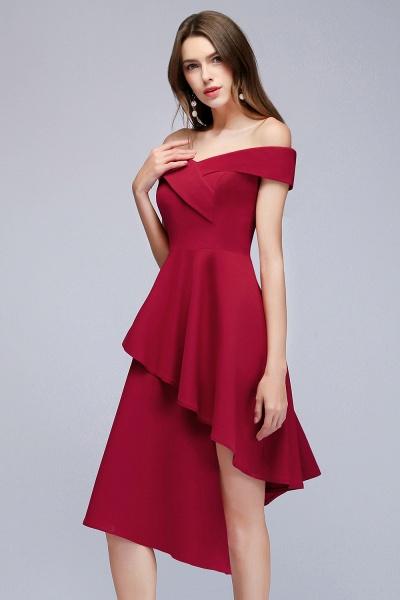 MALLORY   A-line Asymmetrical Short Off-the-shoulder Burgundy Prom Dresses_8