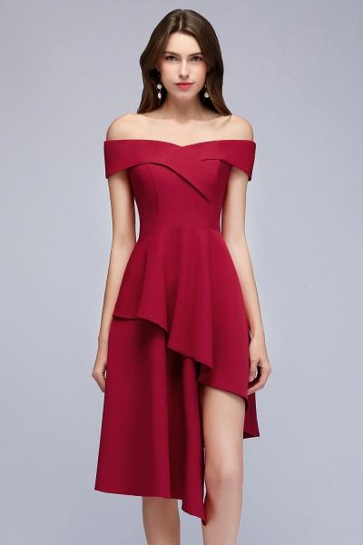 MALLORY   A-line Asymmetrical Short Off-the-shoulder Burgundy Prom Dresses_2