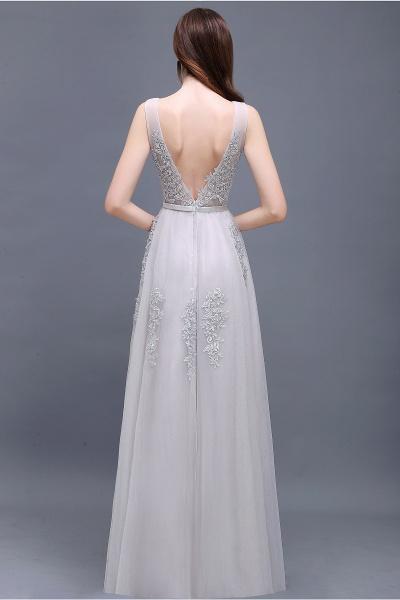 Fabulous V-neck Tulle A-line Evening Dress_15