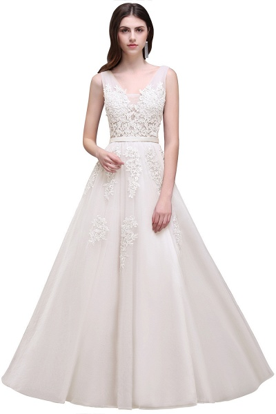 Fabulous V-neck Tulle A-line Evening Dress_2