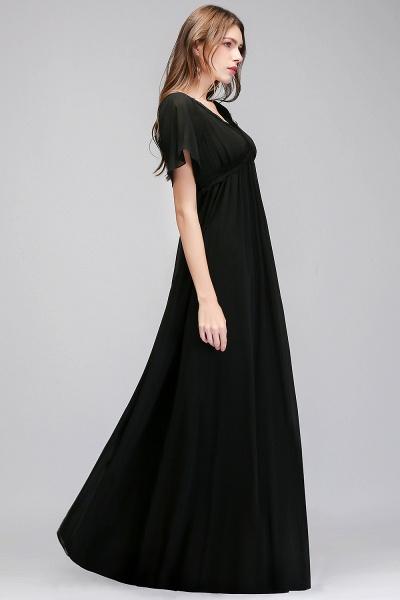MAGDA | A-line V-neck Short Sleeves Long Black Chiffon Bridesmaid Dresses_6