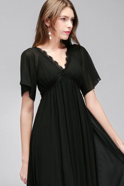 MAGDA | A-line V-neck Short Sleeves Long Black Chiffon Bridesmaid Dresses_7