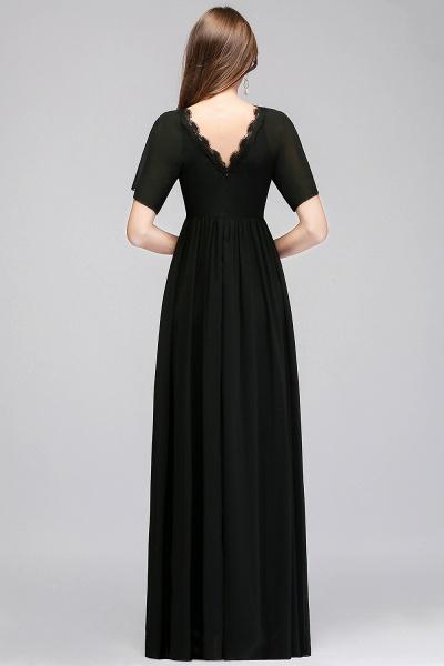 MAGDA | A-line V-neck Short Sleeves Long Black Chiffon Bridesmaid Dresses_3