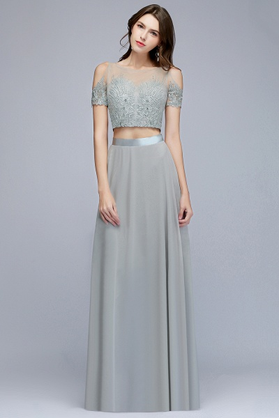 Two-piece Appliqued Chiffon A-line Evening Dresses_4