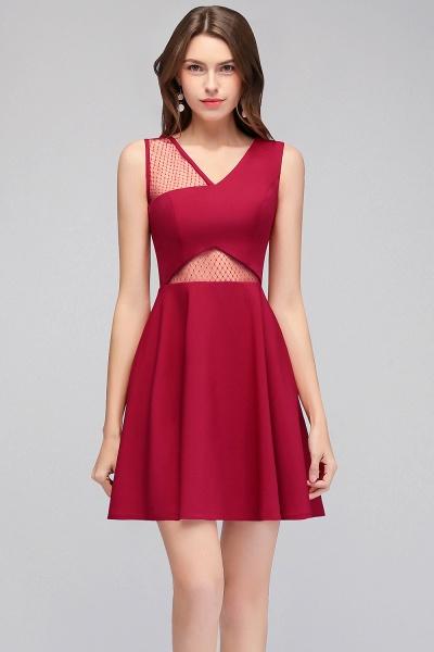 A-line Sleeveless Short V-neck Tulle Neckline Homecoming Dresses_5