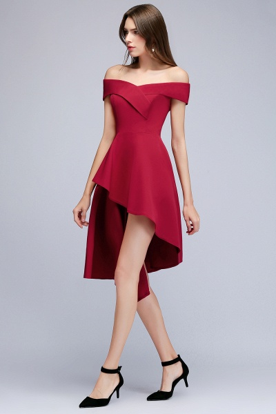 MALLORY | A-line Asymmetrical Short Off-the-shoulder Burgundy Prom Dresses_6
