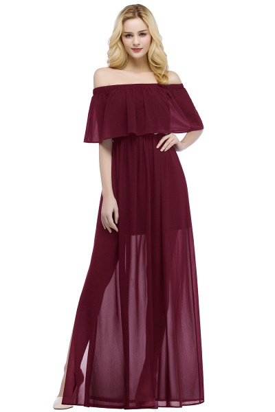 Chic Off-the-shoulder Chiffon A-line Bridesmaid Dress_1