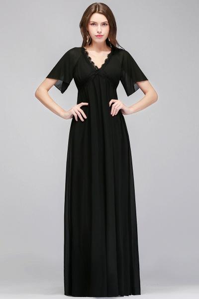 MAGDA | A-line V-neck Short Sleeves Long Black Chiffon Bridesmaid Dresses_1