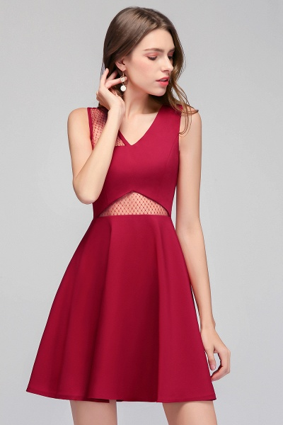 A-line Sleeveless Short V-neck Tulle Neckline Homecoming Dresses_4