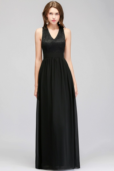 MAGGIE | A-line V-neck Floor Length Sleeveless Lace Top Black Bridesmaid Dresses_5