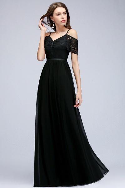 A-line Chiffon Lace V-Neck Off-the-shoulder Sleeveless Floor-Length Bridesmaid Dresses_3
