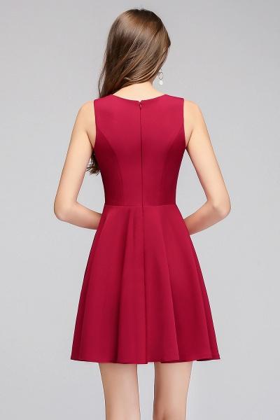 A-line Sleeveless Short V-neck Tulle Neckline Homecoming Dresses_3