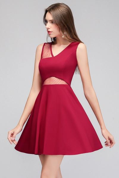 A-line Sleeveless Short V-neck Tulle Neckline Homecoming Dresses_7