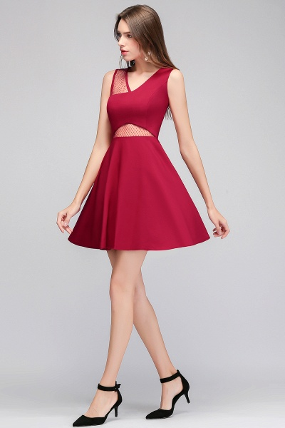A-line Sleeveless Short V-neck Tulle Neckline Homecoming Dresses_6