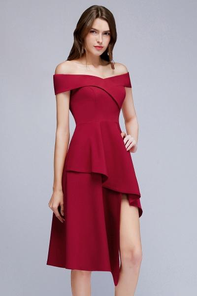 MALLORY   A-line Asymmetrical Short Off-the-shoulder Burgundy Prom Dresses_9