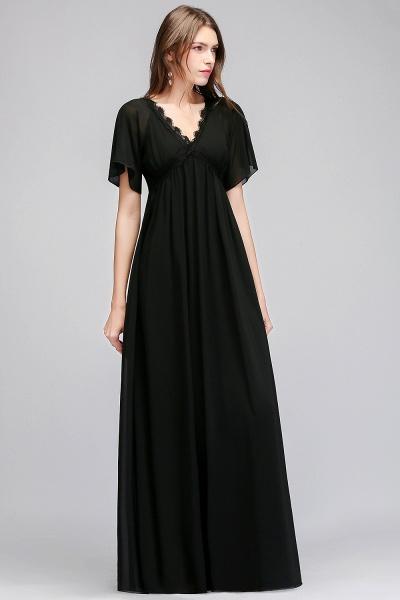 MAGDA | A-line V-neck Short Sleeves Long Black Chiffon Bridesmaid Dresses_9