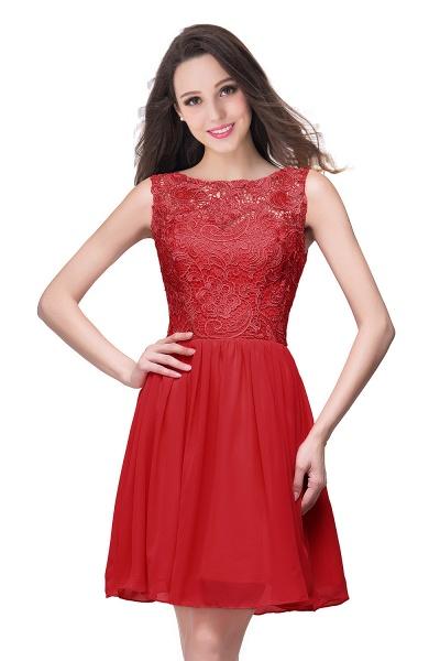 ELIANA | A-line Short Sleeveless Bateau Chiffon Ruffles Lace Top Prom Dresses_1
