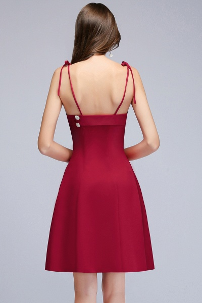 MALVINA | A-line Short V-neck Spaghetti Burgundy Homecoming Dresses with Buttons_3