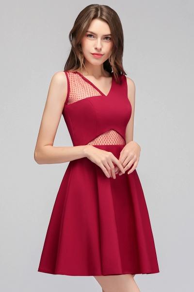 A-line Sleeveless Short V-neck Tulle Neckline Homecoming Dresses_1
