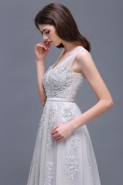 Fabulous V-neck Tulle A-line Evening Dress_14