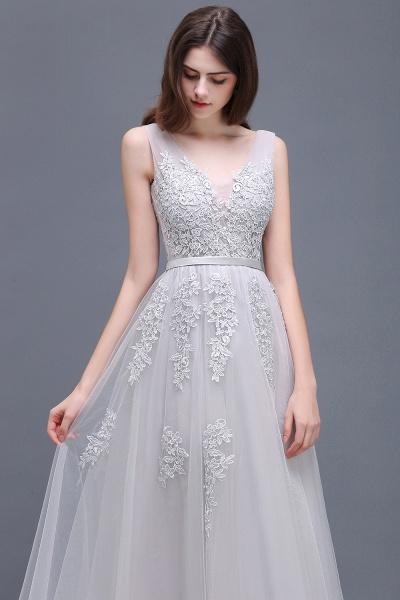 Fabulous V-neck Tulle A-line Evening Dress_13